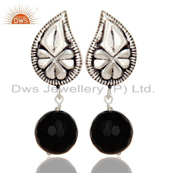 Exporter Flower Carving Black Onyx Drops Brass Earrings Made In Oxidized Silver Plated