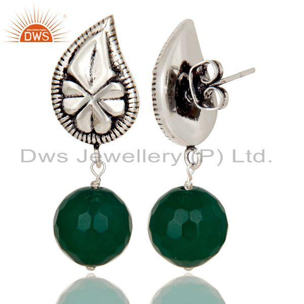 Exporter Flower Carving Green Onyx Drops Brass Earrings Made In Oxidized Silver Plated