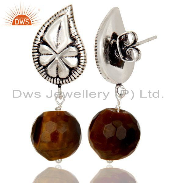 Exporter Flower Carving Tiger Eye Drops Brass Earrings Made In Oxidized Silver Plated