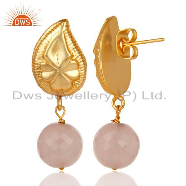 Exporter Flower Carving Dyed Chalcedony Drops Brass Earrings Made In 14K Gold Plated
