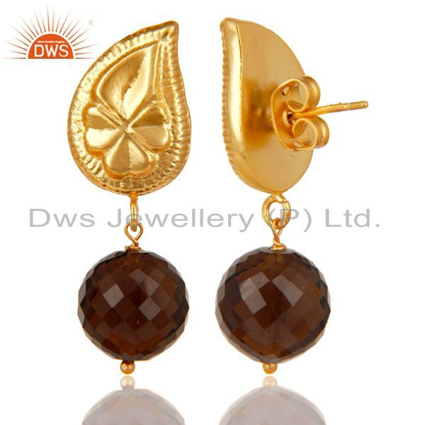 Exporter Handmade Flower Carving Smokey Topaz Drop Brass Earring Made In 14K Gold Plated