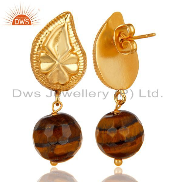 Exporter Handmade Flower Carving Tiger Eye Drops Brass Earrings Made In 14K Gold Plated