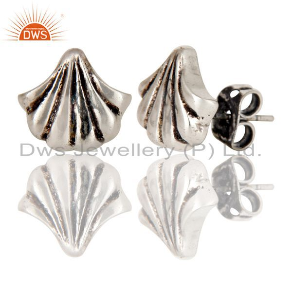Exporter Black Oxidized With Silver Plated Handmade Fashion Style Studs Brass Earrings