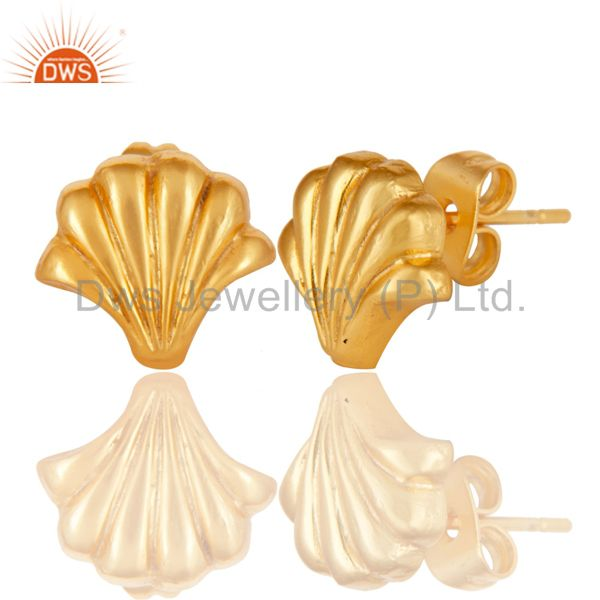 Exporter 14K Yellow Gold Plated Handmade Little Fashion Style Studs Brass Earrings