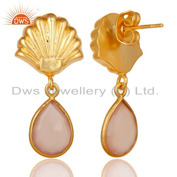 Exporter 14K Yellow Gold Plated Handmade Dyed Rose Chalcedony Bezel Set Brass Earrings