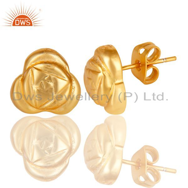 Exporter 14K Yellow Gold Plated Traditional Handmade Little Style Studs Brass Earrings