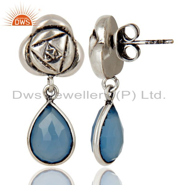 Exporter Handmade Dyed Chalcedony Bezel Set Brass Earring Made In Oxidized Silver Plated