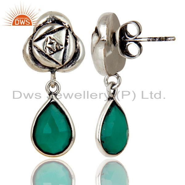 Exporter Handmade Green Onyx Bezel Set Brass Earrings Made In Oxidized Silver Plated