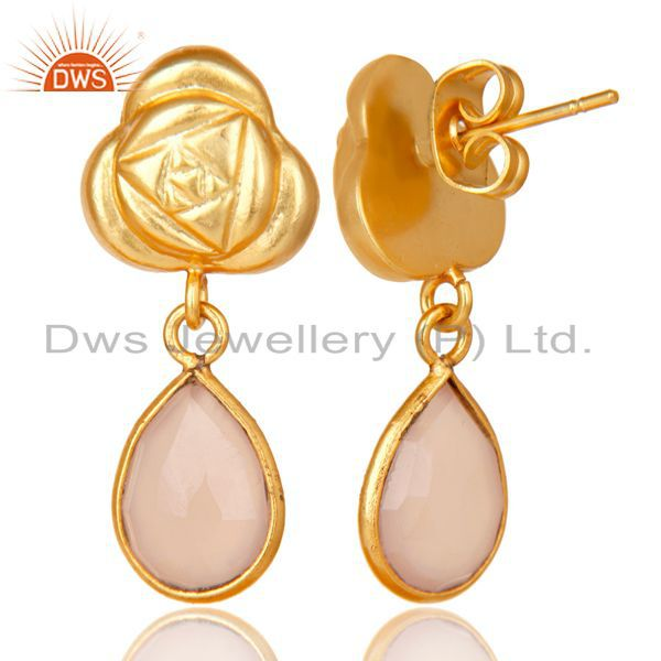 Exporter Handmade Rose Chalcedony Bezel Set Drops Brass Earrings Made In 14K Gold Plated