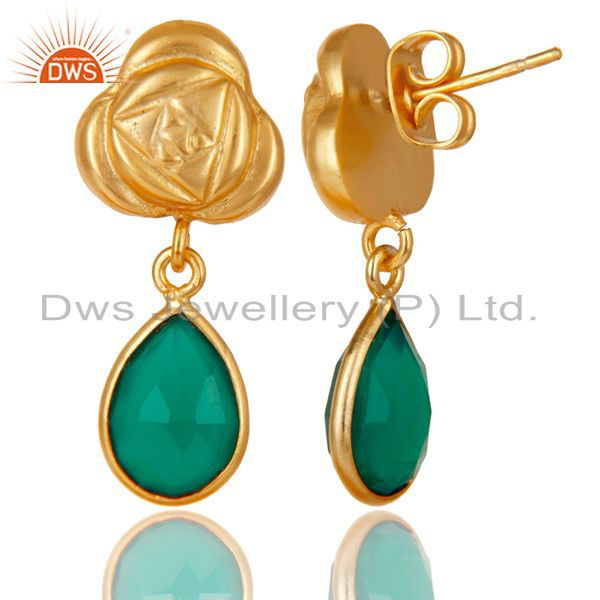 Exporter Handmade Green Onyx Bezel Set Drops Brass Earrings Made In 14K Gold Plated