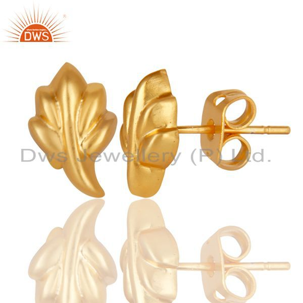 Exporter Traditional Handmade 14K Yellow Gold Plated Leaf Style Studs Earrings Jewelry