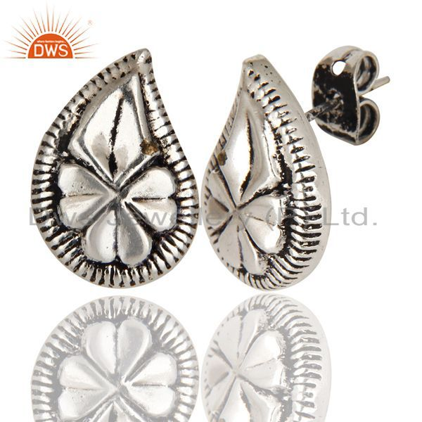 Exporter Black Oxidized With Silver Plated Handmade Flower Design Studs Brass Earrings