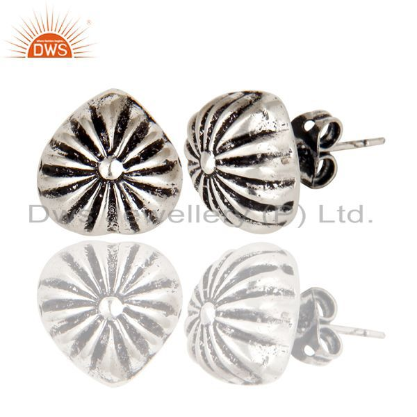 Exporter Oxidized Silver Plated Traditional Handmade Beautiful Design Stud Brass Earring