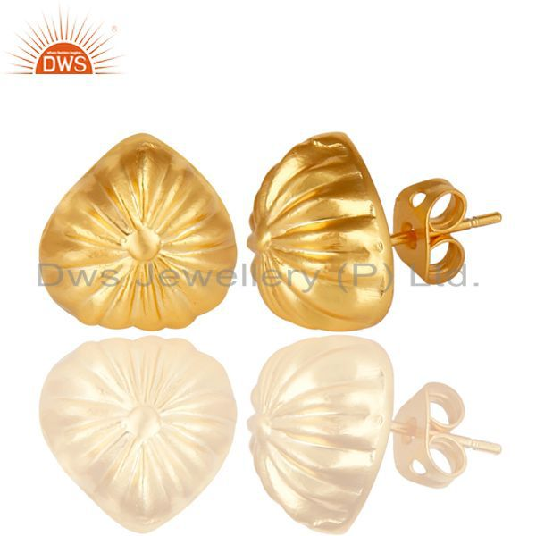 Exporter 14K Yellow Gold Plated Traditional Handmade Beautiful Design Stud Brass Earring