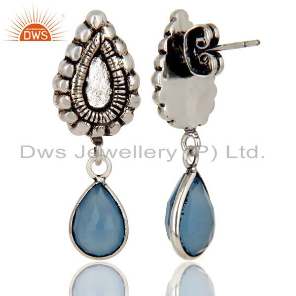 Exporter Oxidized Silver Plated Beautiful Carving Blue Chalcedony Bezel Brass Earrings