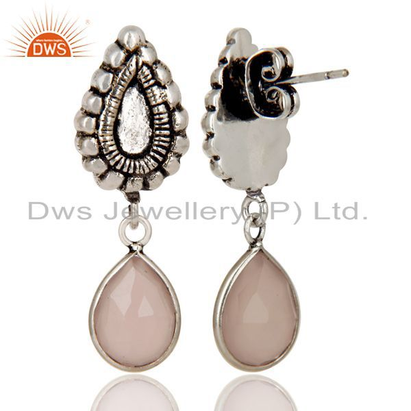 Exporter Oxidized Silver Plated Beautiful Carving Rose Chalcedony Bezel Brass Earrings