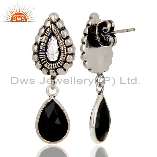 Exporter Oxidized Silver Plated Beautiful Carving Black Onyx Bezel Set Brass Earrings