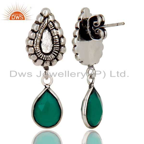 Exporter Oxidized Silver Plated Beautiful Carving Green Onyx Bezel Set Brass Earrings
