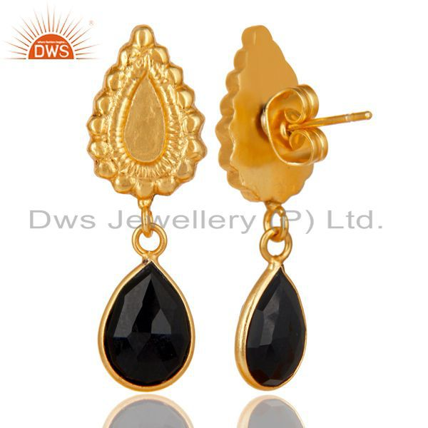 Exporter 14K Gold Plated Handmade Beautiful Carving Black Onyx Bezel Drop Brass Earrings