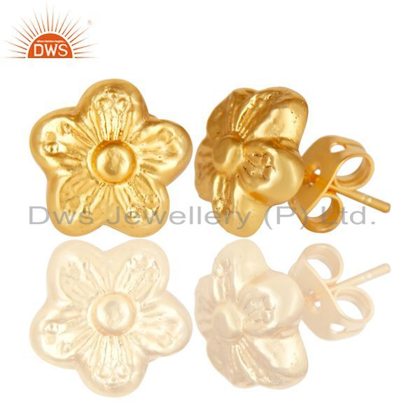 Exporter 14K Yellow Gold Plated Traditional Handmade Flower Style Studs Brass Earrings