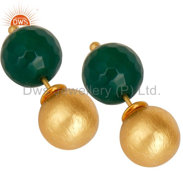 Exporter GREEN Onyx Two Way Stud Ball Stud Post 14 K Gold Plated Fashion Giift Earring