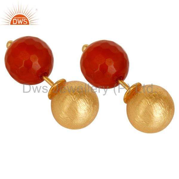 Exporter Red Onyx Two Way Stud Ball Stud Post 14 K Gold Plated Fashion Giift Earring
