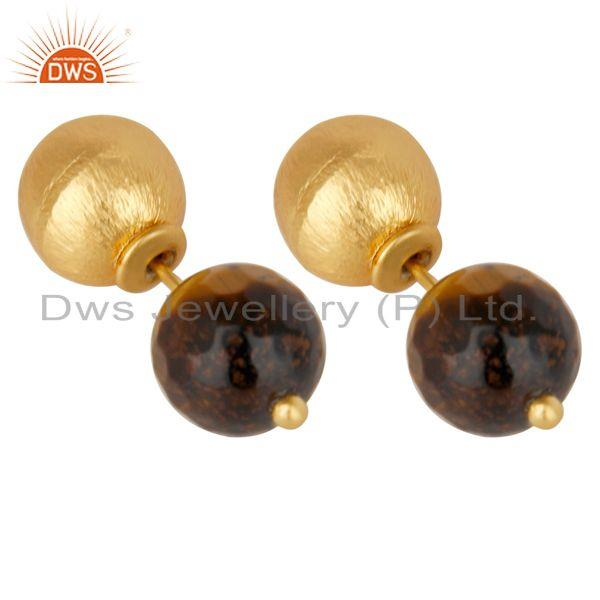 Exporter Tigereye Two Way Stud Ball Stud Post 14 K Gold Plated Fashion Giift Earring