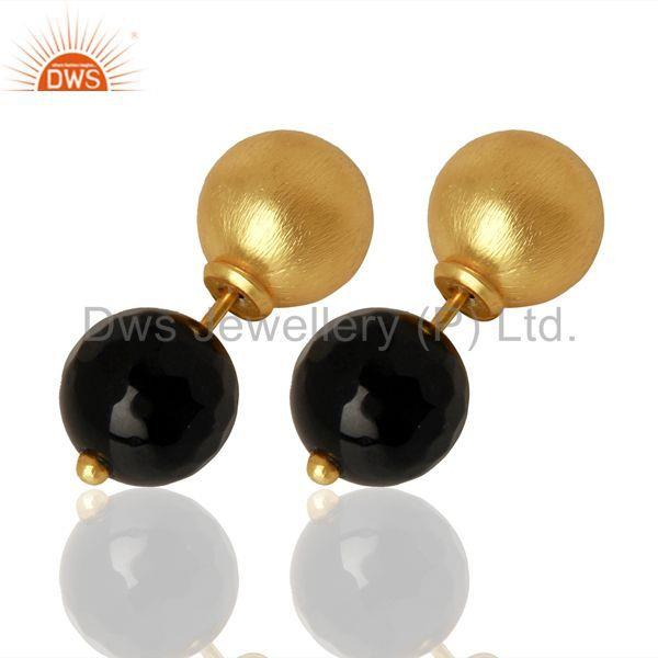 Exporter Gold Plated 925 Silver Natural Black Onyx Gemstone Stud Earrings