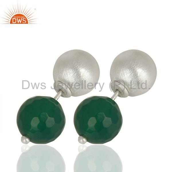 Exporter Green Onyx Gemstone Sterling Silver Stud Earrings Jewelry Manufacturer