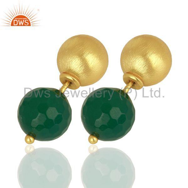 Exporter Green Onyx Studs 18K Gold Plated 925 Sterling Silver Earrings Jewelry