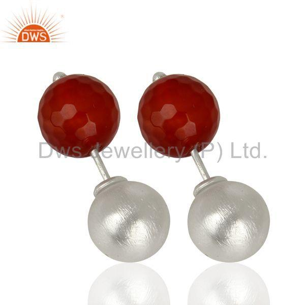 Exporter Red Onyx Studs 925 Sterling Silver Earrings Gemstone Jewelry