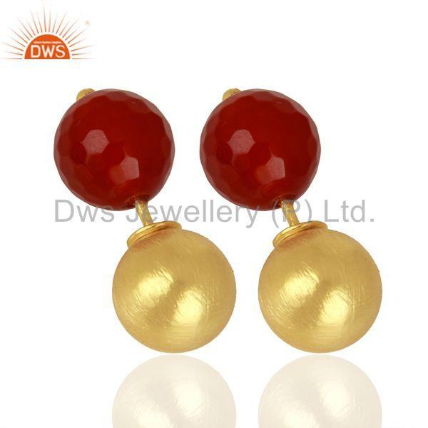 Exporter Red Onyx Studs 18K Gold Plated 925 Sterling Silver Earrings Gemstone Jewelry
