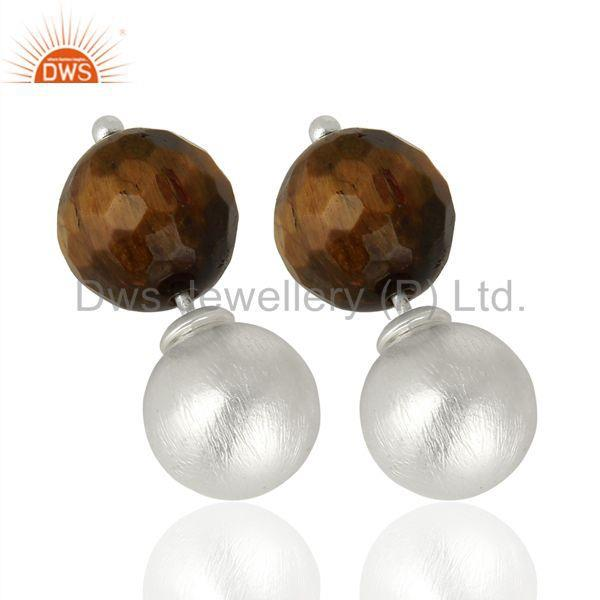 Exporter Yellow Tiger Eye Studs 925 Sterling Silver Earrings Gemstone Jewelry