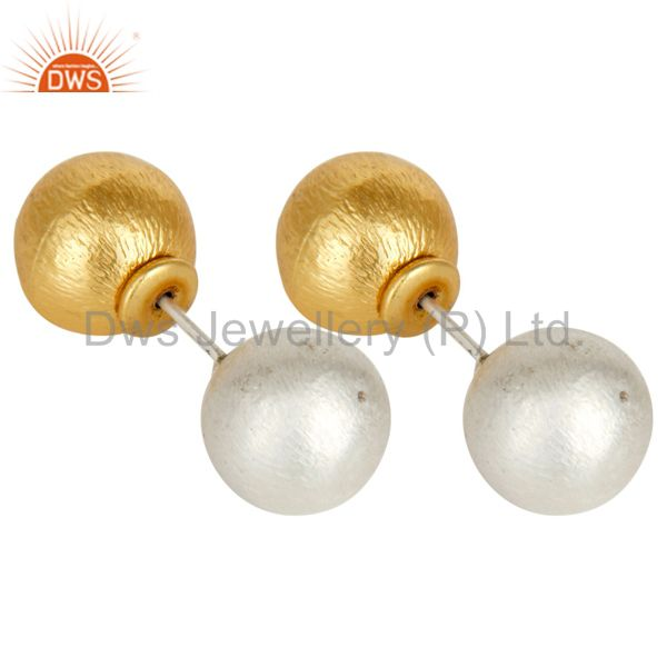 Exporter Traditional Handmade 14K Yellow Gold Plated & Silver Plated Drop Brass Earrings