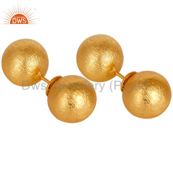 Exporter Two Way Ball Round Ball Stud Post 14 K Gold Plated Fashion Stud Gift Earring