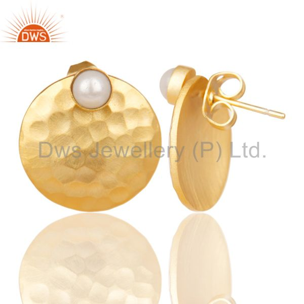 Exporter 14K Gold Plated Handmade Round Textured Natural Pearl Studs Brass Earrings