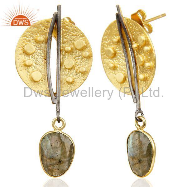 Exporter Labradorite Dangle 14K Yellow Gold Plated Textured Design Brass Earrings Jewelry