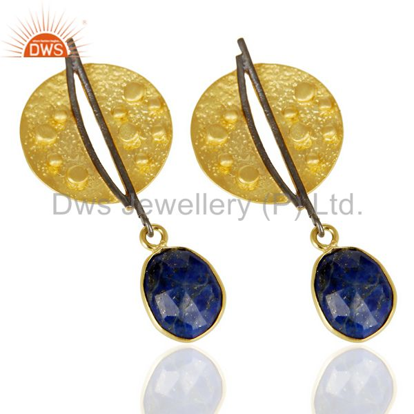 Exporter Lapis Lazul Dangle 14K Yellow Gold Plated Textured Design Brass Earrings Jewelry