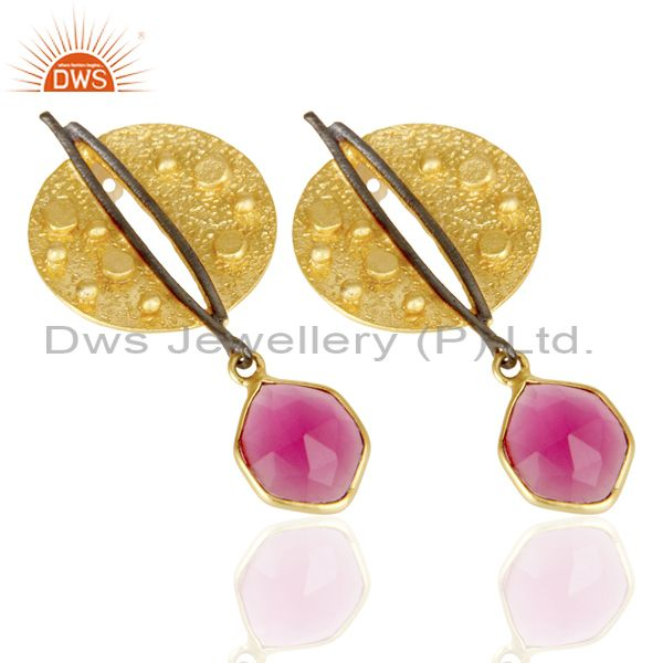 Exporter Gold Plated Texture Designer Boutique Earring Pink Fashion Jewelry