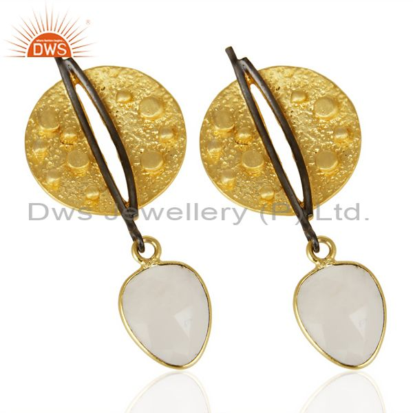 Exporter Gold Plated Texture Designer Boutique Earring Rainbow Moonstone Fashion Jewelry