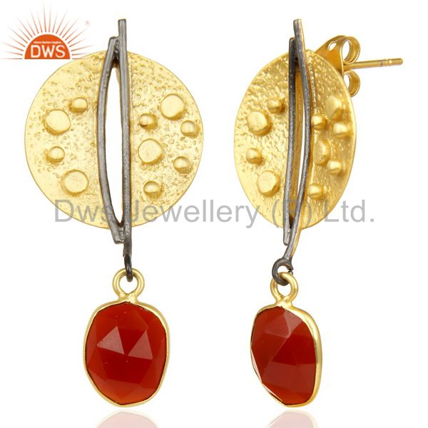 Exporter Red Onyx Dangle 14K Yellow Gold Plated Textured Design Brass Earrings Jewelry