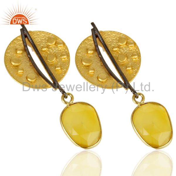 Exporter 14K Gold Plated Traditional Handmade Dyed Chalcedony Dangle Fashion Earrings