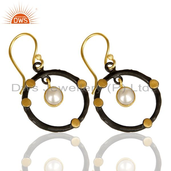 Exporter 14K Gold Plated Traditional Handmade Round Fashion Pearl Drops Brass Earrings