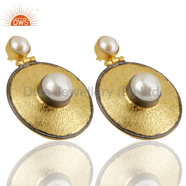 Exporter 14K Yellow Gold Plated Traditional Handmade Pearl Drops Earrings Gift Jewelry