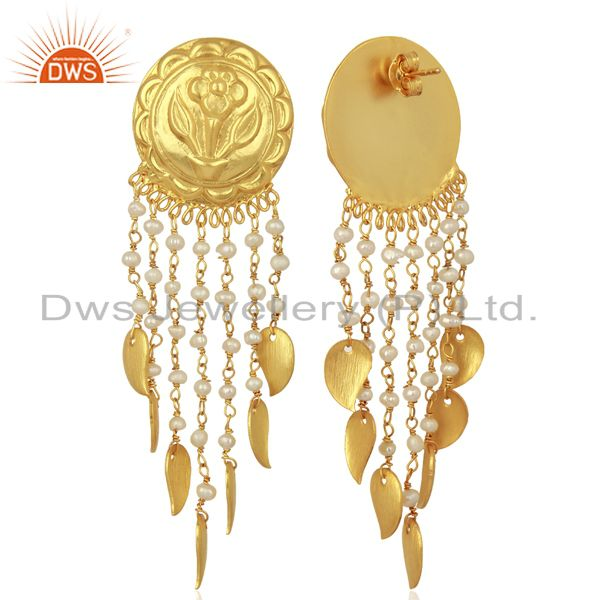 Exporter Pearl Flower 925 Sterling Silver 14K Yellow Gold Plated Chandelier Earring