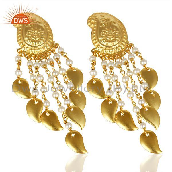 Exporter Pearl Beads Chandelier 18K Yellow Gold Plated Brass Earrings Jewelry