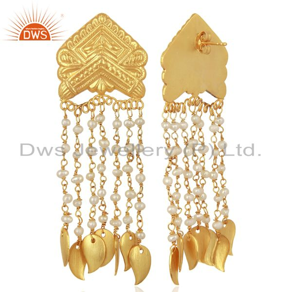Exporter Pearl Bead Chain Tassel Sterling Silver 18k Yellow Gold Plated Earring Jewellery
