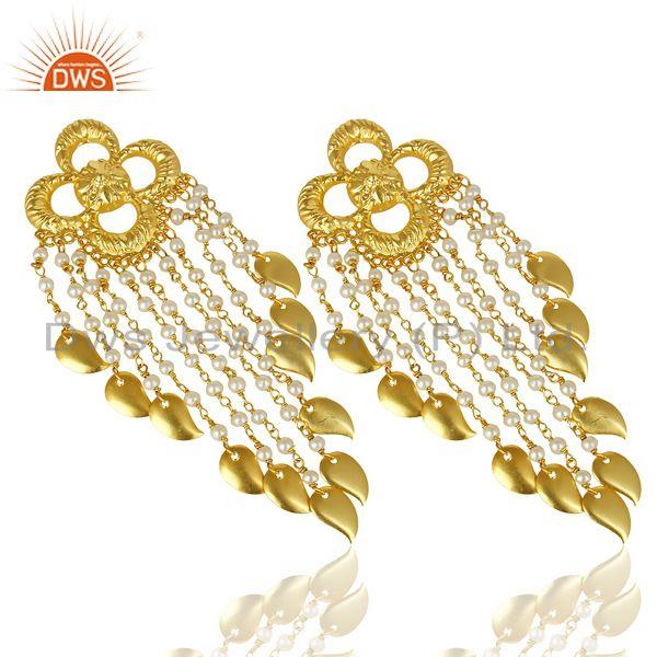 Exporter Pearl Chandelier 18K Gold Plated Sterling Silver Earrings Traditional Jewelry