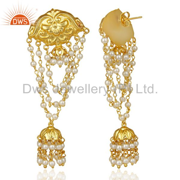 Exporter Pearl Strings 18k Gold Plated Traditional Brass Jewellery Jhumka Earrings