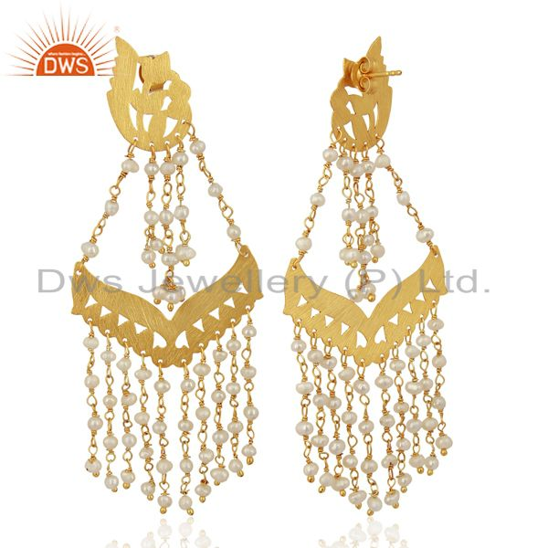 Exporter Pearl Strings Sterling Silver 18k Gold Plated Traditional Chandelier Earrings